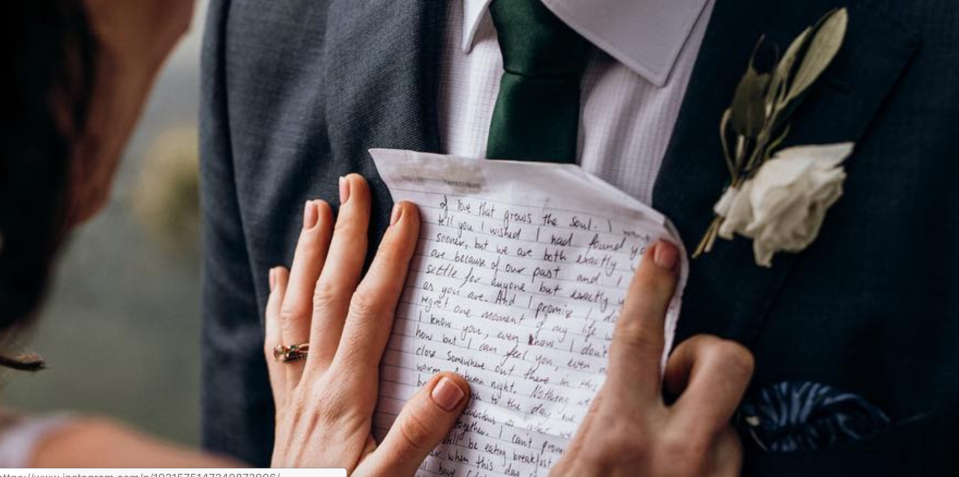 A bride read her husband a letter on their wedding day that she had written to him before they ever met. (Photo: Instagram via Lemon Tree Film House)