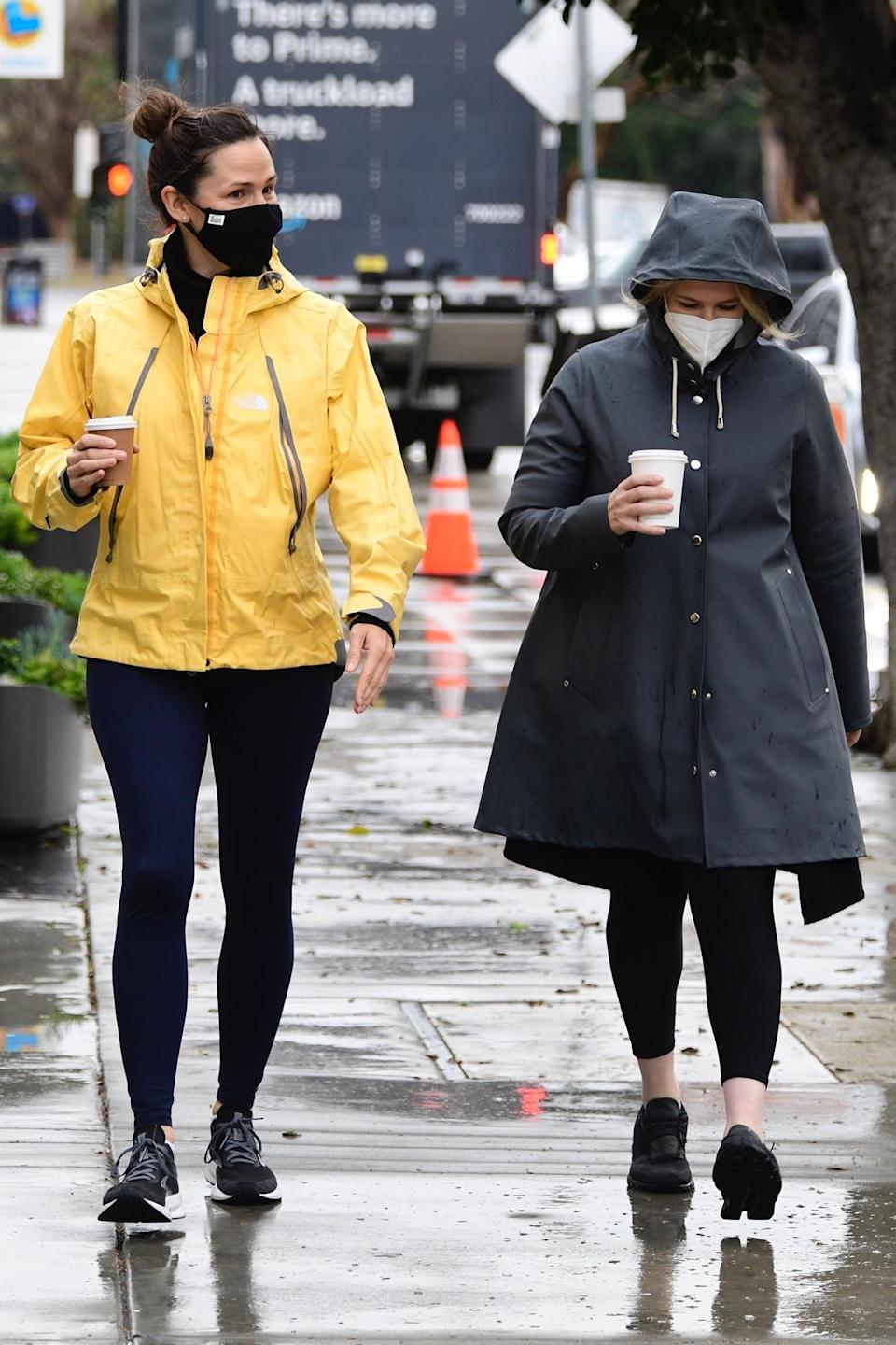 <p>Jennifer Garner was spotted picking up coffee with a friend and wearing a bright yellow rain jacket in Brentwood, California.</p>