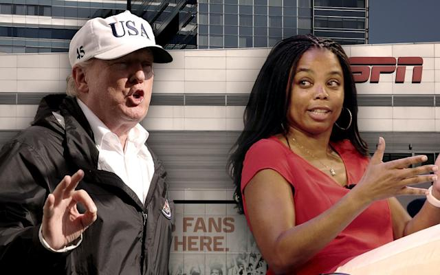 Donald Trump, Jemele Hill. (Yahoo News photo-illustration; photos: Alex Wong/Getty Image, Steve Luciano/AP Images for Hashtag, Mike Blake/Reuters)