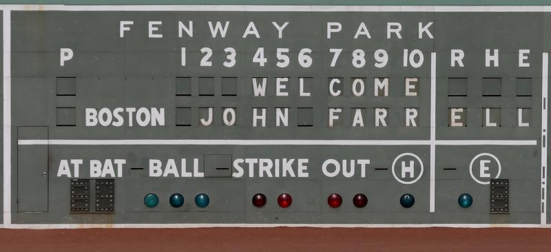 The Green Monster scoreboard in left field welcomes Boston Red Sox manager John Farrell at Fenway Park in Boston, Tuesday, Oct. 23, 2012. Farrell becomes the 46th manager in the club's 112-year history. (AP Photo/Charles Krupa)