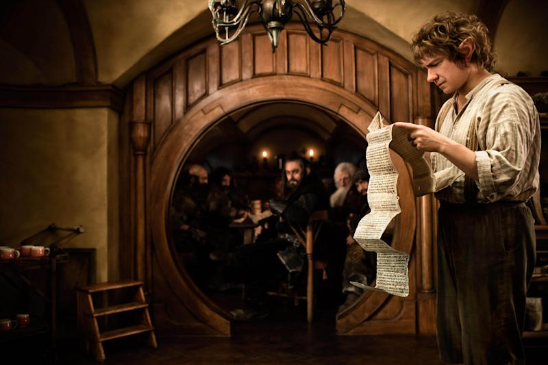 """FILE - This publicity film image released by Warner Bros., shows Martin Freeman as Bilbo Baggins in a scene from the fantasy adventure """"The Hobbit: An Unexpected Journey."""" Late prospects for Oscar contenders, include Steven Spielberg's """"Lincoln,"""" Tom Hooper's """"Les Miserables,"""" director Kathryn Bigelow's """"Zero Dark Thirty,"""" and creator Peter Jackson's """"The Hobbit: An Unexpected Journey,"""" the first in his three-part """"Rings"""" prelude. (AP Photo/Warner Bros., James Fisher, File)"""