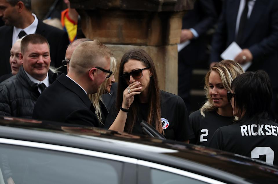 Veronika Ricksen (wife of Fernando) departs the funeral of her husband. (Photo by Andrew Milligan/PA Images via Getty Images)