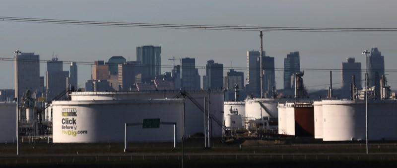 FILE PHOTO: Crude oil tanks at Enbridge's terminal are seen in Sherwood Park