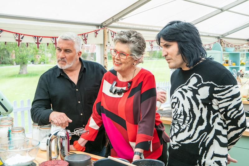 Paul Hollywood, Prue Leith and Noel Fielding. (© Love Productions)