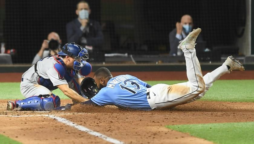 ARLINGTON, TEXAS OCTOBER 25, 2020- Dodgers catcher Austin Barnes tags out Rays Manuel Margot at home plate on a steal attempt in Game 5 of the World Series at Globe Life Field in Arlington, Texas Sunday. (Wally Skalij/Los Angeles Times)