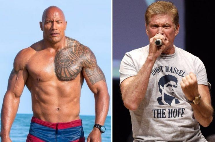 Did David Hasselhoff save Dwayne Johnson's 'Baywatch' movie at the German box office? (Credit: Paramount/WENN)