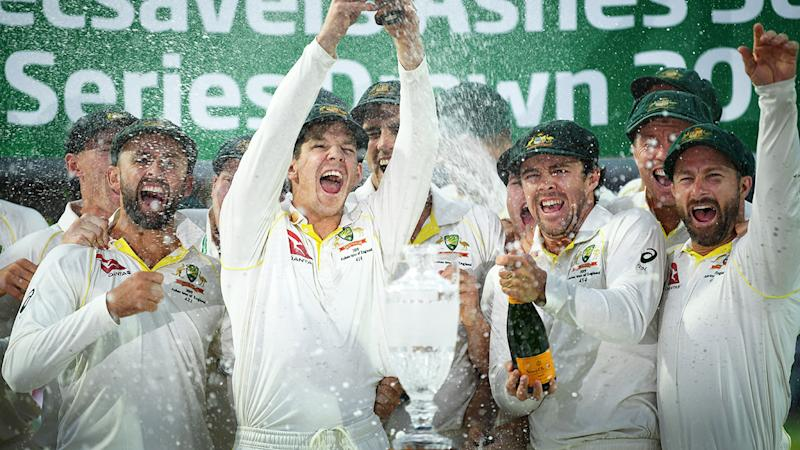 Tim Paine, pictured here celebrating Australia's Ashes triumph in England in 2019.