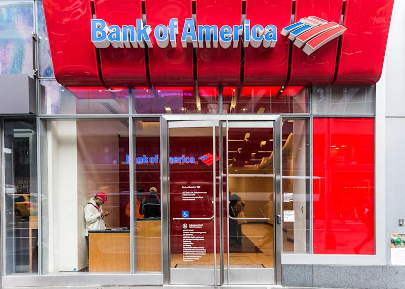 New York, NY, USA - May 5, 2017: A Bank of America branch office as seen on Eighth Avenue in New York City.