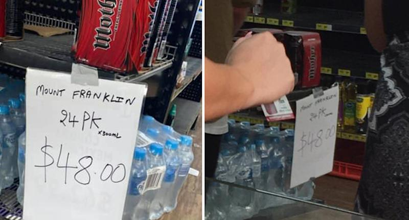 A photo of a 24-pack of water bottles being sold for $48 at a petrol station sold on the NSW south coast.