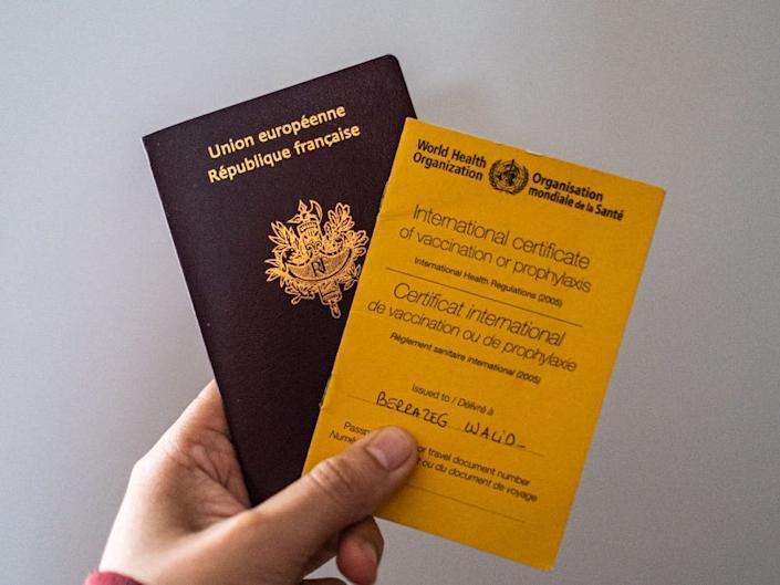Immunization passport / vaccination card from the World Health Organisation and a French Passport.