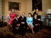 <p>Posing next to her brothers and parents for a portrait at Buckingham Palace.</p>