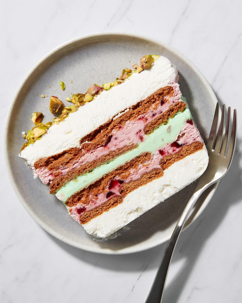 """<h1 class=""""title"""">Raspberry and Pistachio Ice Cream Icebox Cake Slice - IG - INSET</h1><cite class=""""credit"""">Photo by Joseph De Leo, Food Styling by Michelle Gatton</cite>"""