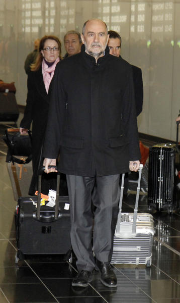 Herman Nackaerts, Deputy Director General and Head of the Department of Safeguards of the International Atomic Energy Agency, IAEA,arrives from Iran at Vienna's Schwechat airport, Austria, Friday, Jan. 18, 2013. (AP Photo/Ronald Zak)