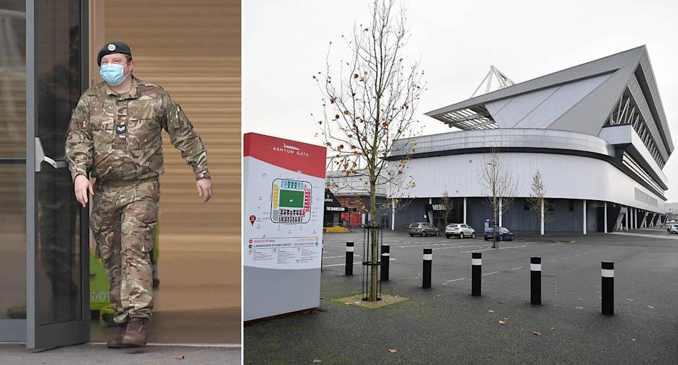 An army officer at Ashton Gate stadium in Bristol on Monday as part of preparations for a vaccine programme. (SWNS)