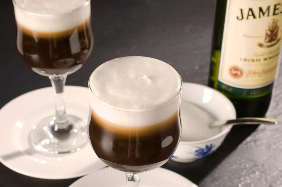 """<p>The only thing better than caffeine is caffeine spiked with alcohol. Something well understood by whoever invented the Irish Coffee. Combining hot coffee, cold cream, strong whiskey, and sweet sugar, this cocktail is a comfort, and one that manages to simultaneously alert and relax the drinker.</p> <p><strong>Try it at home:</strong> <a href=""""https://fave.co/2V7lu1G"""" rel=""""nofollow noopener"""" target=""""_blank"""" data-ylk=""""slk:$30 Jameson Irish Whiskey at drizly.com"""" class=""""link rapid-noclick-resp"""">$30 Jameson Irish Whiskey at drizly.com</a></p>"""