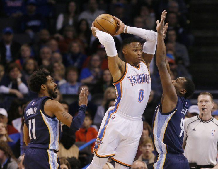 Russell Westbrook was everywhere in the final minutes of OKC's win. (AP)