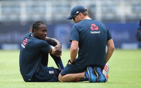 England bowler Jofra Archer chats with physio Craig de Weyman during the warm up during Day One of the Fourth Test between South Africa and England at The Wanderers on January 24, 2020 in Johannesburg, South Africa - Credit: Getty Images