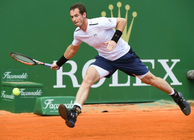 Britain's Andy Murray hits a return to Luxembourg's Gilles Muller during the Monte-Carlo ATP Masters Series tournament in Monaco on April 19, 2017