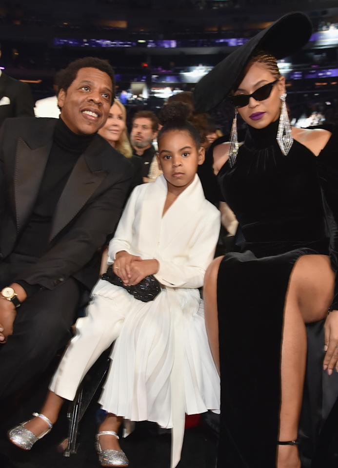 "<p>Blue stole the internet on Sunday when footage of her telling her parents to <a rel=""nofollow"" rel=""nofollow"" href=""https://www.yahoo.com/lifestyle/things-beyonce-jay-z-blue-ivy-carter-made-headlines-grammys-175235434.html"">take their clapping down a notch</a> went viral. Between that rocking those silver, high-heeled shoes — at 6! — the kid, looking quite comfortable in her prime spot, got a lot of attention. (Photo: Getty Images) </p>"
