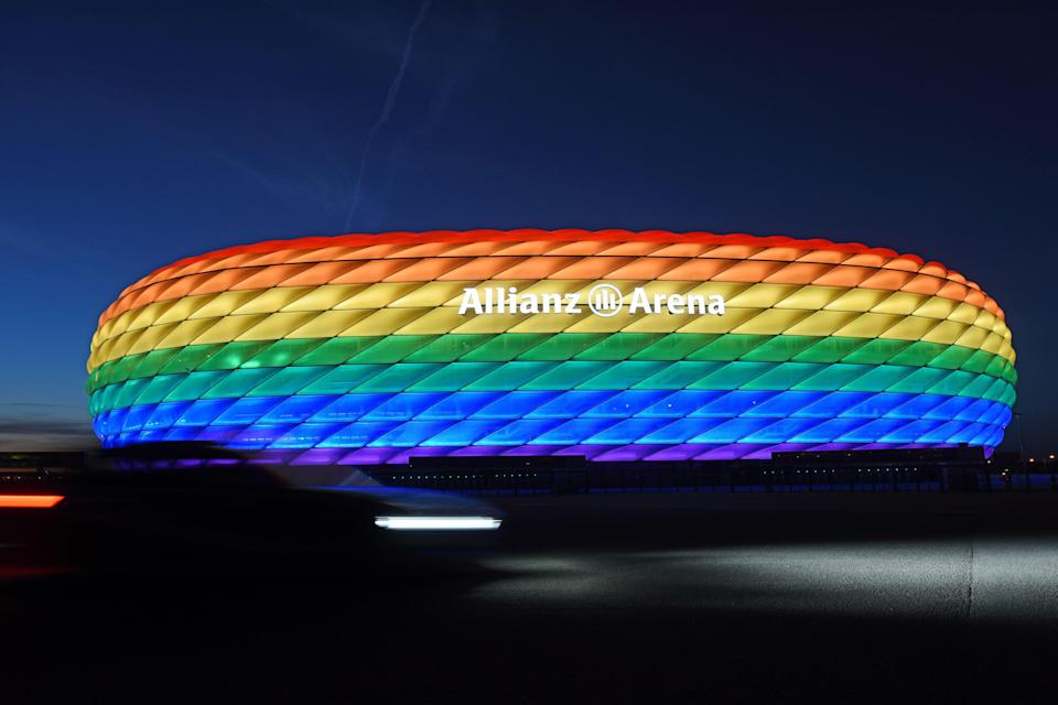 The stadium was lit up in rainbow colours in 2016 (DPA/AFP via Getty Images)