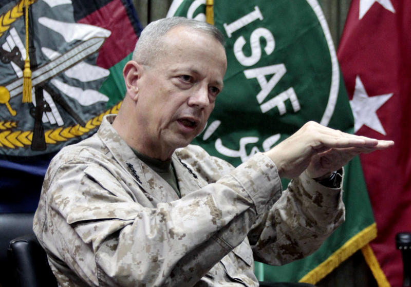 "FILE - This July 22, 2012, file photo shows U.S. Gen. John Allen, top commander of the NATO-led International Security Assistance Forces (ISAF) and U.S. forces in Afghanistan, during an interview with The Associated Press in Kabul, Afghanistan. The Pentagon says Gen. John Allen is under investigation for alleged ""inappropriate communications"" with Jill Kelley, the woman who is said to have received threatening emails from Paula Broadwell, the woman with whom former CIA Director David Petraeus had an extramarital affair. Defense Secretary Leon Panetta says the FBI referred the matter to the Pentagon on Sunday, Nov. 11, 2012. Panetta says he ordered a Pentagon investigation of Allen on Monday. (AP Photo/Musadeq Sadeq, File)"