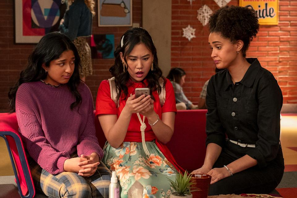 """Best pals Devi (Maitreyi Ramakrishnan, left), Eleanor (Ramona Young) and Fabiola (Lee Rodriguez) in a Season 2 episode of """"Never Have I Ever."""""""