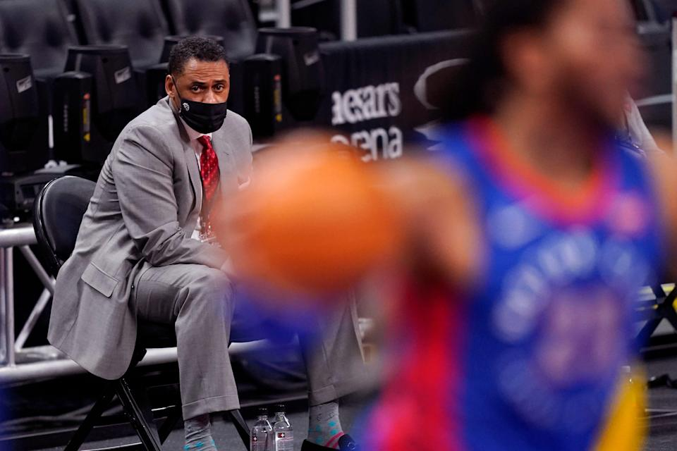 Detroit Pistons GM Troy Weaver watches Thursday, Jan. 28, 2021, during the second half of a game between the Detroit Pistons and the Los Angeles Lakers in Detroit.