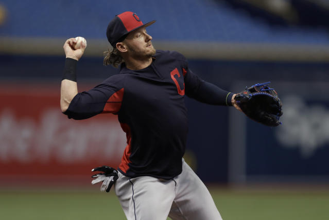 Cleveland Indians third baseman Josh Donaldson takes infield practice before a baseball game against the Tampa Bay Rays Monday, Sept. 10, 2018, in St. Petersburg, Fla. Donaldson was acquired in a trade with the Toronto Blue Jays. (AP Photo/Chris O'Meara)