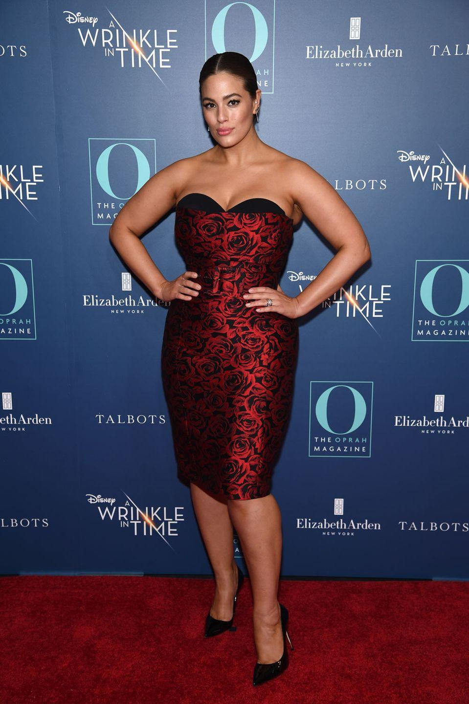 <p>Attending 'A Winkle In Time' screening: Ashley let her body do the talking in this strapless dress covered with red roses, and to show off those bronzed shoulders she kept her hair slicked back, with minimal makeup. </p>