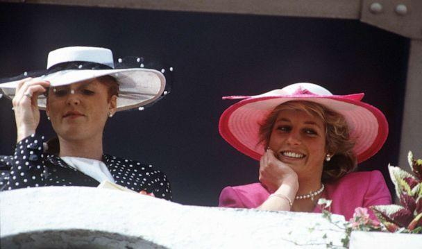 PHOTO: In this June 3, 1987, file photo, Sarah, The Duchess of York and Diana, the Princess of Wales attend Derby Day at Epsom Downs Racecourse in Epsom, Surrey, England. (PA Images via Getty Images, FILE)
