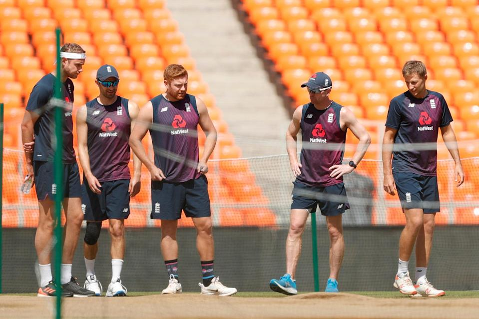 England players inspect the pitchBCCI
