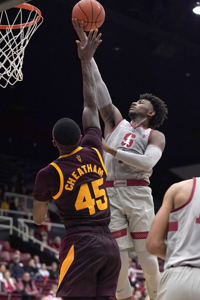 Stanford guard Daejon Davis (1) drives to the basket against Arizona State forward Zylan Cheatham (45) during the first half of an NCAA college basketball game in Stanford, Calif., Saturday, Jan. 12, 2019. (AP Photo/Tony Avelar)