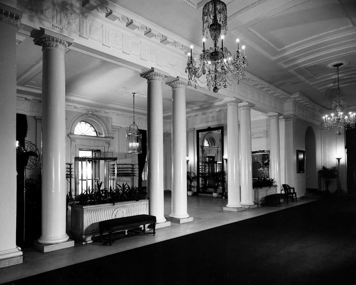 "November 1947: ""Photo of the entrance hall of the White House, prior to the renovation. From an album of photographs by Abbie Rowe of the White House, prior to the 1949 renovation."" -- National Archives"