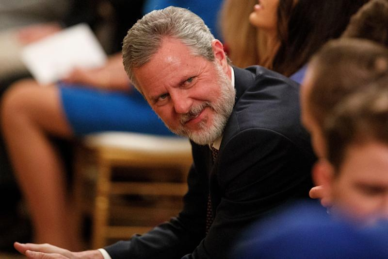 Jerry Falwell Jr. is the former president of Liberty University, an evangelical school founded by his late televangelist father. (Photo: (AP Photo/Evan Vucci))