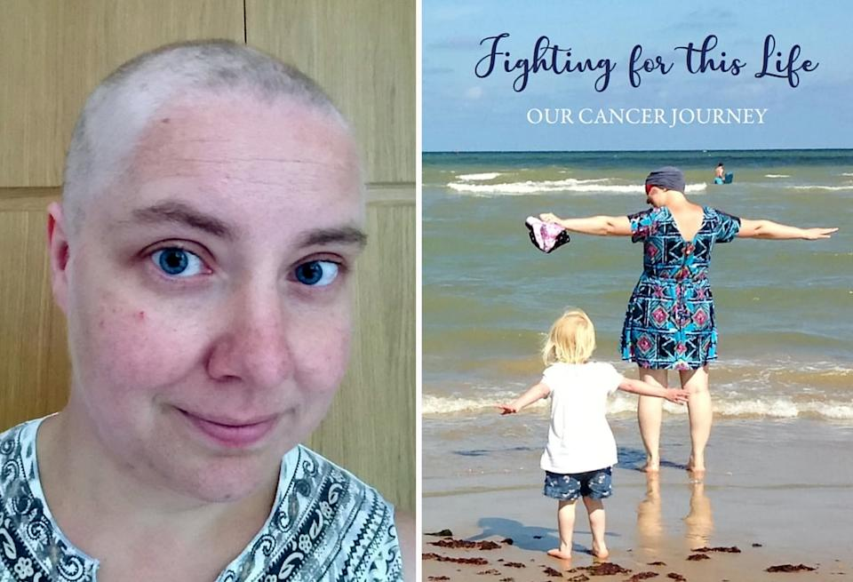 Helga Peeters while she was going through treatment and the family's book about her cancer journey. (SWNS)