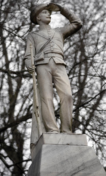 This Feb. 23, 2019 photog shows the Confederate soldier monument at the University of Mississippi in Oxford, Miss. The University of Mississippi's leader says he agrees that a Confederate monument should be shifted from its current spot on campus. Interim Chancellor Larry Sparks said in a Thursday, March 21, 2019, statement that he is consulting with historic preservation officials on relocating the statue. (AP Photo/Rogelio V. Solis)
