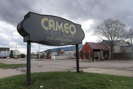 The parking lot of Cameo Nightlife club remains empty after police removed barrier tape from the scene of a mass shooting in Cincinnati