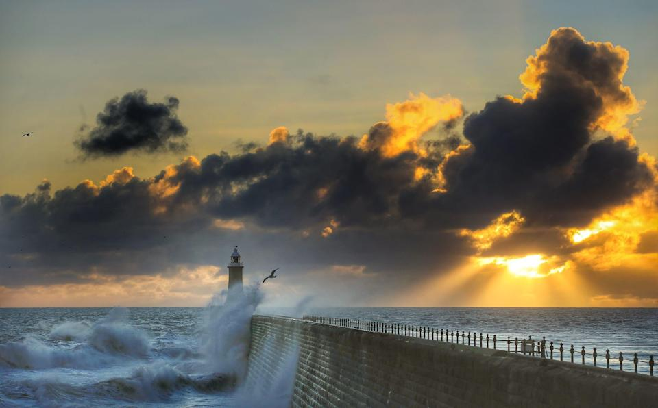 <p>Rough seas at Tynemouth Pier in the North East </p>