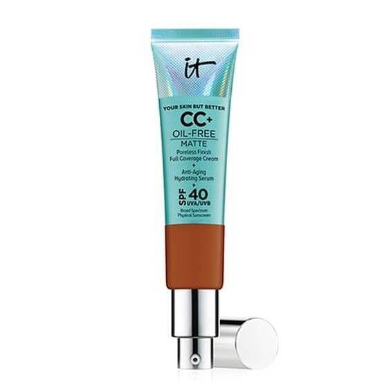 """<p><strong>IT Cosmetics</strong></p><p>sephora.com</p><p><strong>$39.50</strong></p><p><a href=""""https://go.redirectingat.com?id=74968X1596630&url=https%3A%2F%2Fwww.sephora.com%2Fproduct%2Fyour-skin-but-better-cc-oil-free-matte-with-spf-40-P433435&sref=https%3A%2F%2Fwww.goodhousekeeping.com%2Fbeauty-products%2Fg30611666%2Fbest-cc-cream%2F"""" rel=""""nofollow noopener"""" target=""""_blank"""" data-ylk=""""slk:Shop Now"""" class=""""link rapid-noclick-resp"""">Shop Now</a></p><p>An editor favorite, this is the matte version of IT Cosmetic's cult-fave CC cream. Ideal for people with oily or combination skin, the <strong>oil-free formula gives you a flawless matte finish</strong>. The formula is rich without feeling heavy on your skin so you don't need to use a ton of product for full coverage. </p>"""