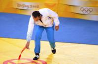 """<p>Frustrated by the judging that led to his bronze medal, Swedish wrestler Ara Abrahamian threw it down it protest. As a result, <a href=""""https://www.reuters.com/article/us-olympics-wrestling-abrahamian/abrahamian-stripped-of-bronze-medal-idUSSP5681420080816"""" rel=""""nofollow noopener"""" target=""""_blank"""" data-ylk=""""slk:he was stripped of that medal since the IOC ruled that it insulted fellow athletes and constituted a demonstration"""" class=""""link rapid-noclick-resp"""">he was stripped of that medal since the IOC ruled that it insulted fellow athletes and constituted a demonstration</a>. </p>"""