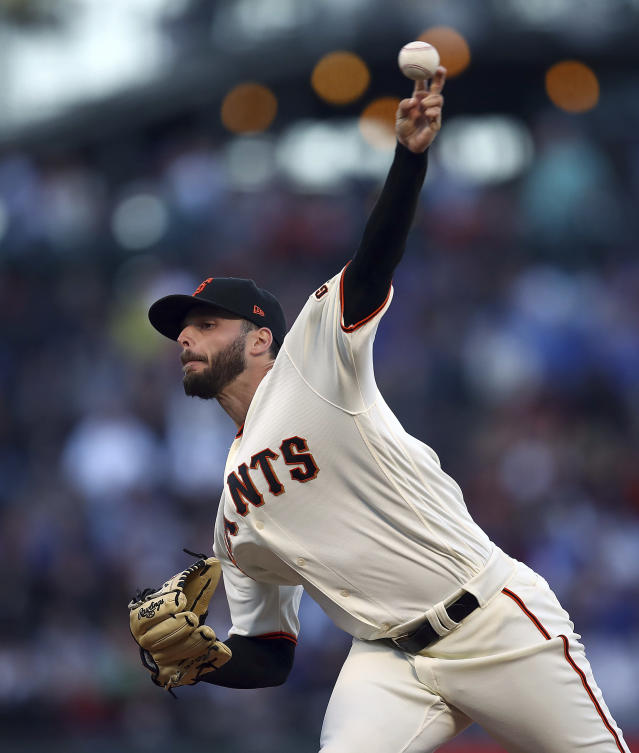 San Francisco Giants pitcher Andrew Suarez works against the Chicago Cubs in the first inning of a baseball game Monday, July 9, 2018, in San Francisco. (AP Photo/Ben Margot)