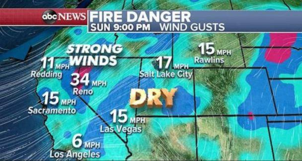 PHOTO: Strong winds could catalyze brush fires across the West. (ABC News)