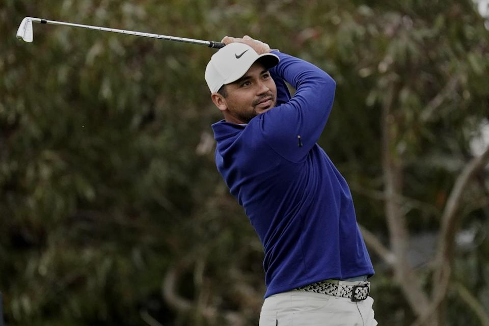 Jason Day of Australia, watches his tee shot on the 10th hole during the first round of the PGA Championship.