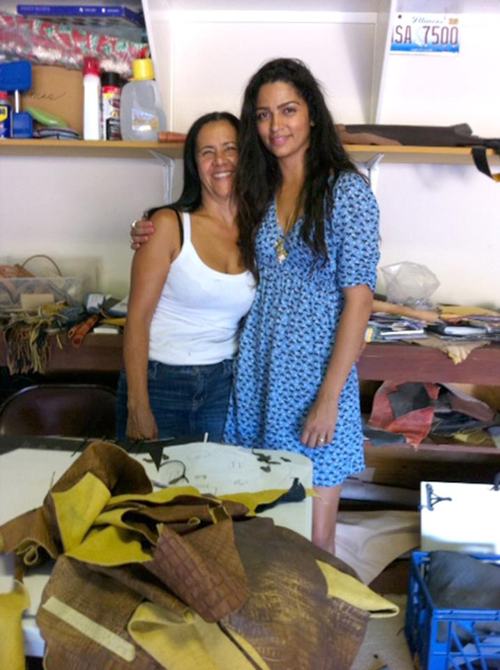 "<a href=""https://www.facebook.com/iamcamilaalves"" target=""_blank"">CAMILA ALVES, who makes leather handbags with mom Fatima Alves</a> <br />Working from the road! We have to set up our workshop anywhere we can! Sometimes it's in an office, and sometimes it's in a garage! ;-)"