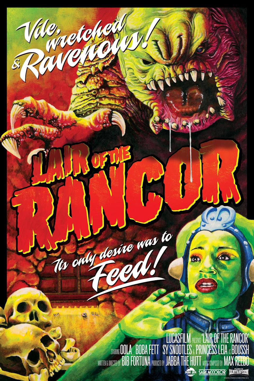 """<p>Jabba's bloodthirsty pet is reconceived as a B-movie monster in a 2012 poster by Mark Daniels and Mark Steele. The fictional """"Lair of the Rancor"""" features an all-time cast of Oola, Boba Fett, Sy Snootles, and Princess Leia as Boussh!</p>"""