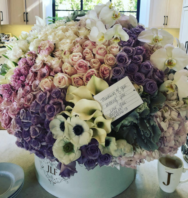 "<p>Swoon! Alex Rodriguez certainly knows how to treat his woman. J.Lo <a href=""https://www.yahoo.com/lifestyle/see-sweet-love-note-alex-rodriguez-sent-jennifer-lopez-014753841.html"" data-ylk=""slk:posted a pic of this beautiful flower arrangement;outcm:mb_qualified_link;_E:mb_qualified_link"" class=""link rapid-noclick-resp newsroom-embed-article"">posted a pic of this beautiful flower arrangement</a> from her man, along with the note he sent. ""Thinking of you, missing you, love you,"" he wrote. He signed it, ""Besos (Spanish for 'kisses'), Macho 13."" It just all sounds sexy! (Photo: <a href=""https://www.instagram.com/p/BeWQZjMF9A5/?taken-by=jlo"" rel=""nofollow noopener"" target=""_blank"" data-ylk=""slk:Jennifer Lopez via Instagram"" class=""link rapid-noclick-resp"">Jennifer Lopez via Instagram</a>) </p>"