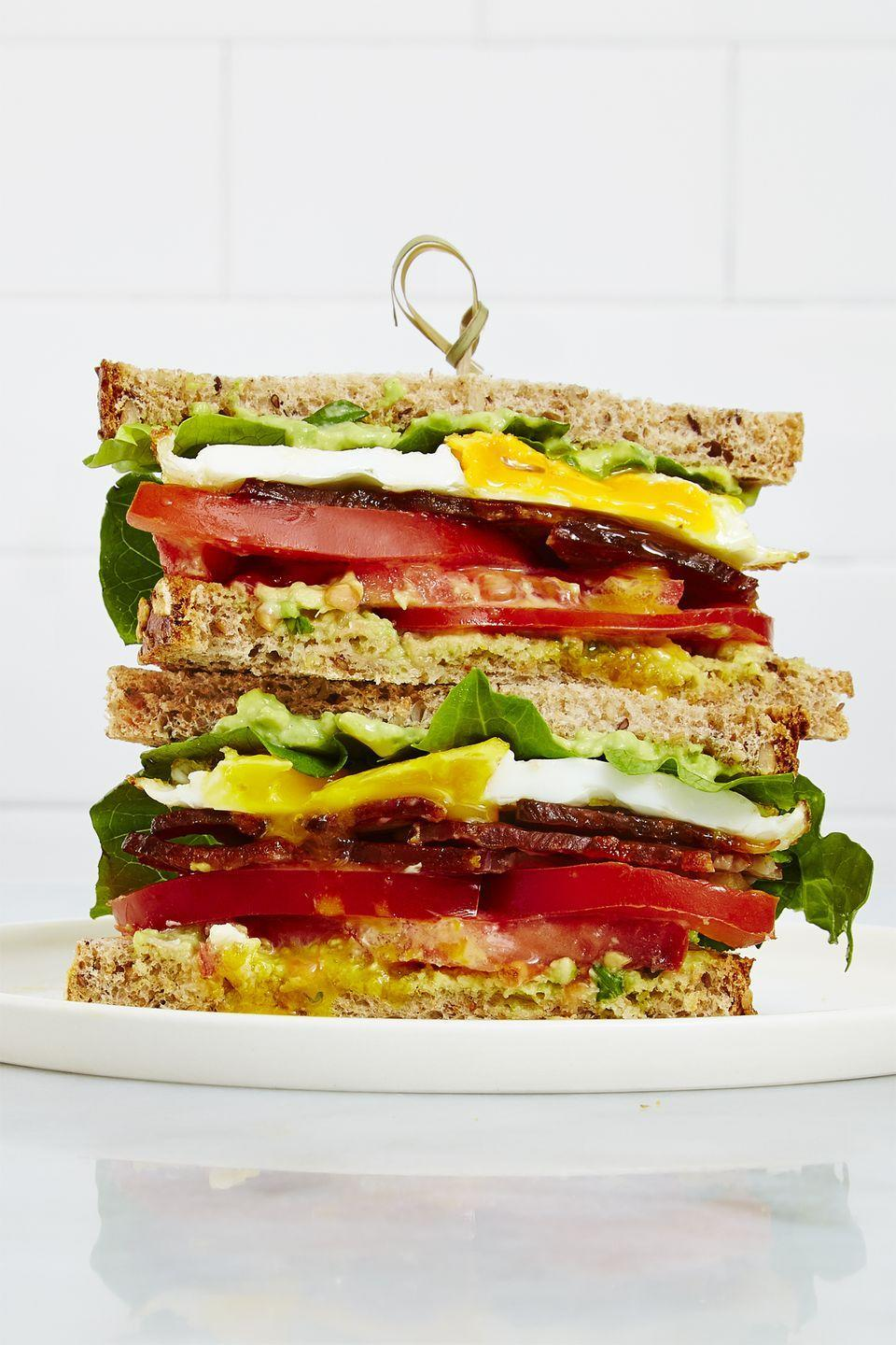 "<p>You're just 15 minutes away from the ultimate breakfast sandwich.</p><p><em><a href=""https://www.goodhousekeeping.com/food-recipes/easy/a34115/paprika-parmesan-granola-bars/"" rel=""nofollow noopener"" target=""_blank"" data-ylk=""slk:Get the recipe for Fully Loaded Fried-Egg BLT »"" class=""link rapid-noclick-resp"">Get the recipe for Fully Loaded Fried-Egg BLT »</a></em></p>"