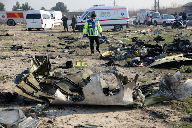 TEHRAN, IRAN - JANUARY 08: Search and rescue works are conducted at site after a Boeing 737 plane belonging to a Ukrainian airline crashed near Imam Khomeini Airport in Iran just after takeoff with 180 passengers on board in Tehran, Iran on January 08, 2020. All 167 passengers and nine crew members on an Ukrainian 737 plane that crashed near Iran's capital Tehran early Wednesday have died, according to a state official. (Photo by Fatemeh Bahrami/Anadolu Agency via Getty Images)