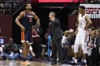 Virginia head coach Tony Bennett shouts instructions during the first half of the team's NCAA college basketball game against Florida State in Tallahassee, Fla., Wednesday, Jan. 15, 2020. (AP Photo/Mark Wallheiser)