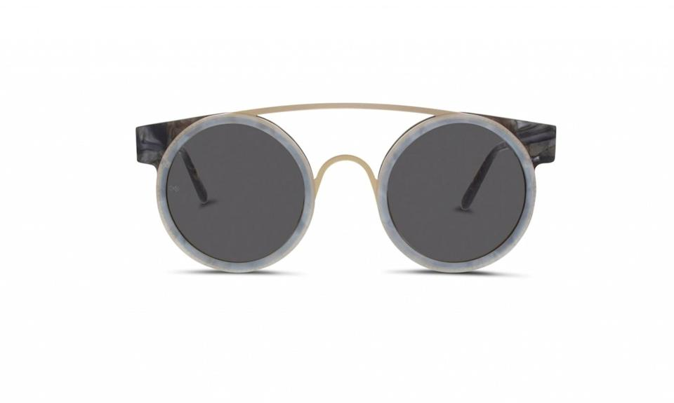 "<p>Sodapop I sunglasses, $395,<a href=""http://www.smokexmirrors.com/product/soda-pop-i/?frame-color=black-scales-white-scale-rims-gold-matte-bridge&lens-color=green-grey&lens=dark&color=dark"" rel=""nofollow noopener"" target=""_blank"" data-ylk=""slk:smokexmirrors.com"" class=""link rapid-noclick-resp""> smokexmirrors.com</a> </p>"